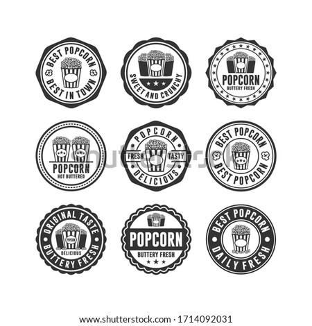 Badge stamp popcorn design collection
