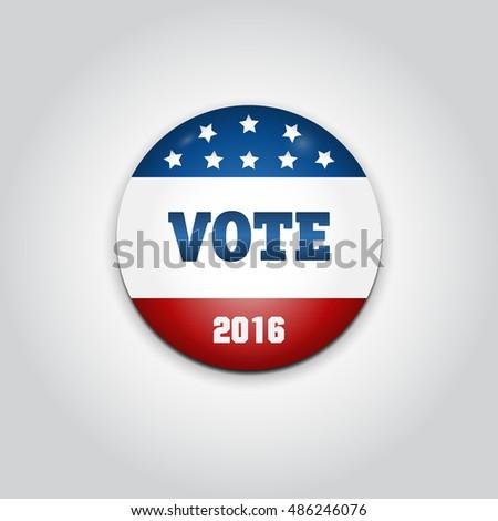 Badge Vote. US presidential election in 2016