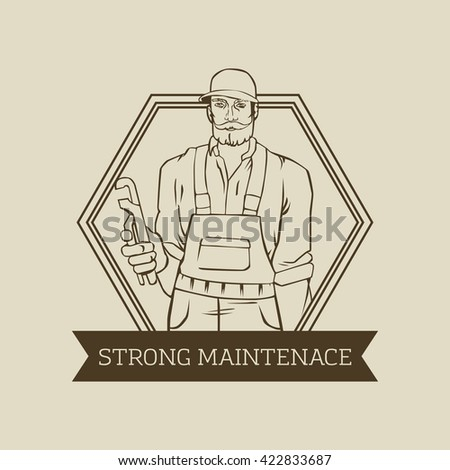 badge with cool man plumber