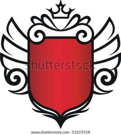 badge with crown and wings