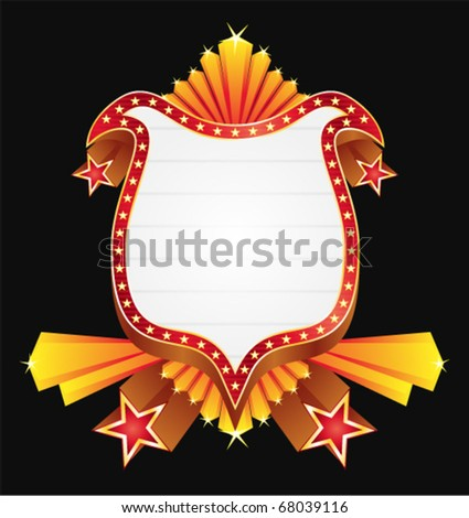 Badge with gold decorations and red stars