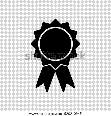 Badge with ribbons - black  vector icon