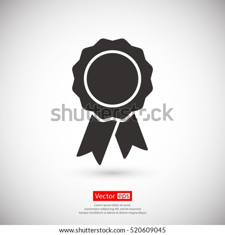 badge with ribbons icon, vector illustration. Flat design style