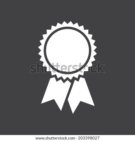 Badge with ribbons icon, vector illustration, simple flat design #203398027