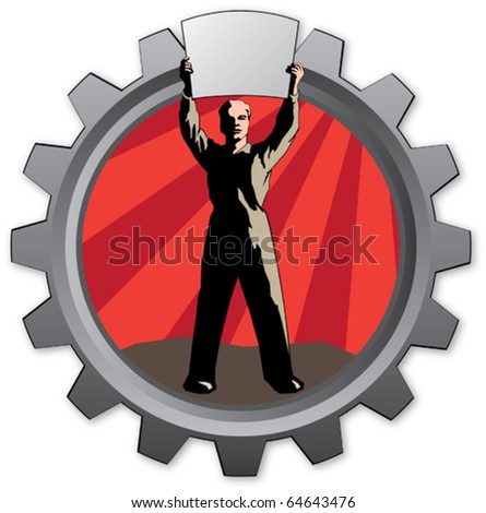 badge with worker man with sunrise background - stock vector