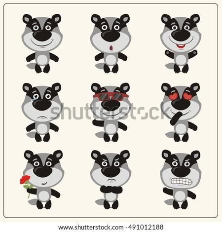 badger cartoon vector set