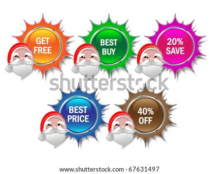 Badges and price tags with Santa face-vector - stock vector