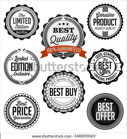 Badges Vintage. Collection of Black on White Background. Best Buy.