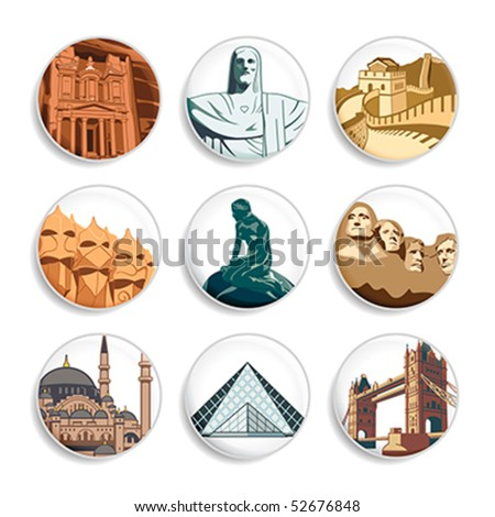 Badges with famous places all around world | Set 3