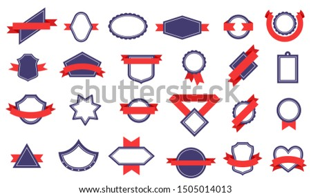 Badges with ribbons. Different shapes of award labels, winner ribbon. Quality badges, certificate seal stamp banner. Flat vector set