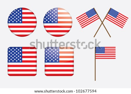 badges with United States flag vector illustration