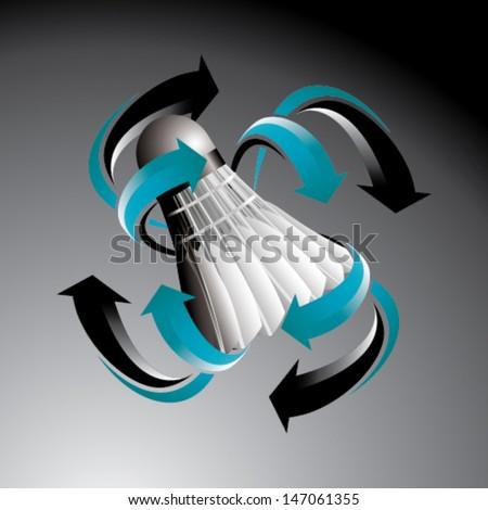 Badminton ball with arrows