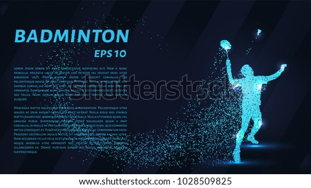 Badminton consists of particles. Badminton consists of dots and circles. Blue badminton on dark background