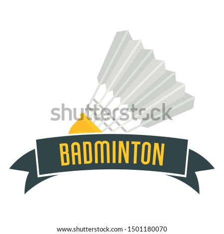 Badminton emblem logo. Flat illustration of badminton emblem vector logo for web design