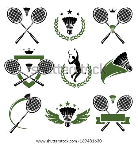 Badminton labels and icons set. Vector