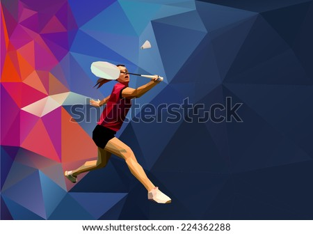 Badminton player on abstract polygonal background. Triangles background for your design. Geometrical lines vector