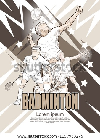 badminton poster design. hand drawn vector of badminton players