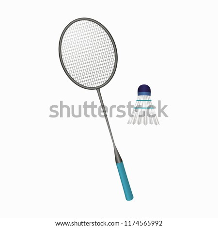 Badminton racket and shuttlecock. Vector illustration of equipments for badminton game sport . Vector illustration. EPS 10.