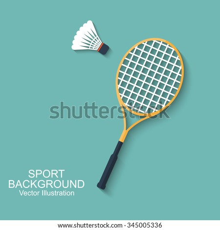 Badminton racket and shuttlecocks. Icon in flat design with shadow. Sport background. Vector illustration. Background for design of mobile, web app and printed materials