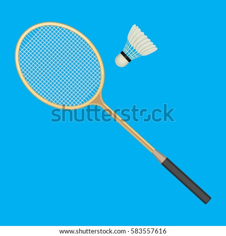 Badminton racket and white shuttlecock with black line. Vector illustration of equipments for badminton game sport isolated on background in flat design. Racket and shuttlecock