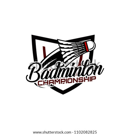 Badminton team design logo emblem template. Abstract sport badge vector illustration