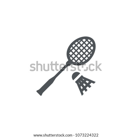 Badminton with racket icon. Tennis game.