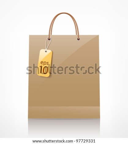 Bag brown shopping. front view, vector illustration
