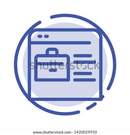 Bag, Find Job, Job Website, Online Portfolio Blue Dotted Line Line Icon