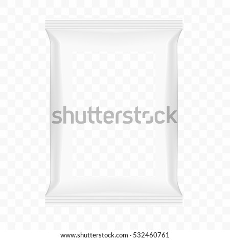 Bag For Food Or Snack With Transparent Window Template. EPS10 Vector