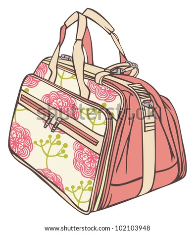 bag for traveling with a flower pattern
