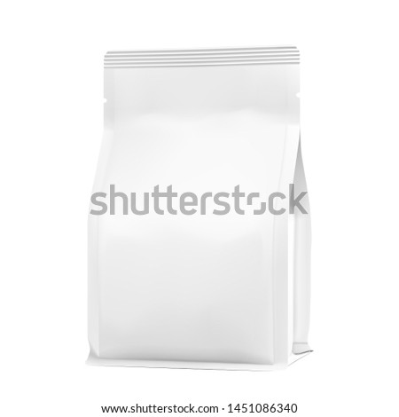Bag mockup. Vector illustration isolated on white background.  High realistic detail. Ready for your design. Suite for the presentation of coffee, food, for pets, household, etc.