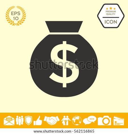 Bag of money icon with dollar symbol