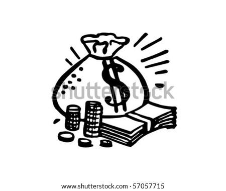 Bag Of Money - Retro Clip Art