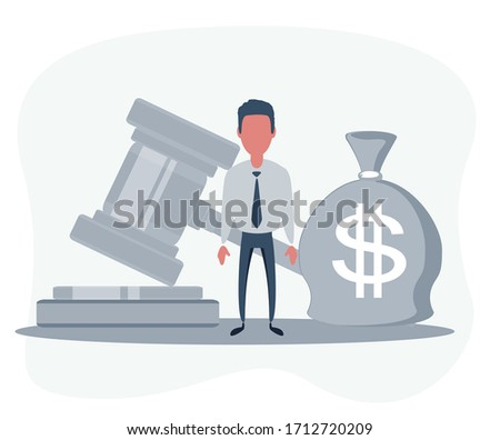 Bag of money with a dollar sign and a judge's hammer. Concept lobbying for the adoption of a law or a norms, corruption. Payment of fines and penalties. award of compensation for damage. Vector.
