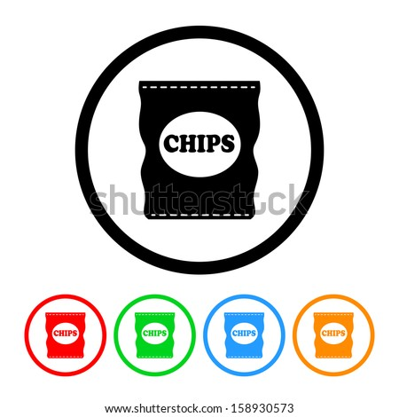 Bag of Potato Chips Icon with Color Variations
