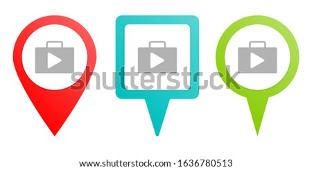 bag, play, store. Multicolor pin vector icon, diferent type map and navigation point.