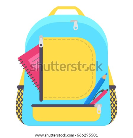 Bag school flat isolated on white background. Blue and yellow backpack with school supplies icon cartoon