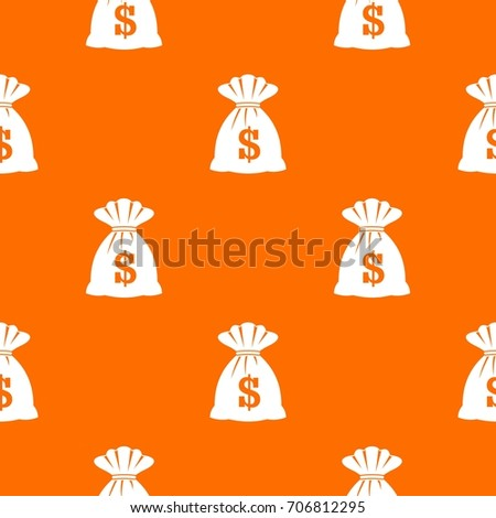 Bag with dollars pattern repeat seamless in orange color for any design. Vector geometric illustration