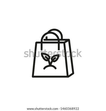 Bag with organics line icon. Organic shop, eco package, eco product. Organic concept. Vector illustration can be used for topics like food, ecology, recycling