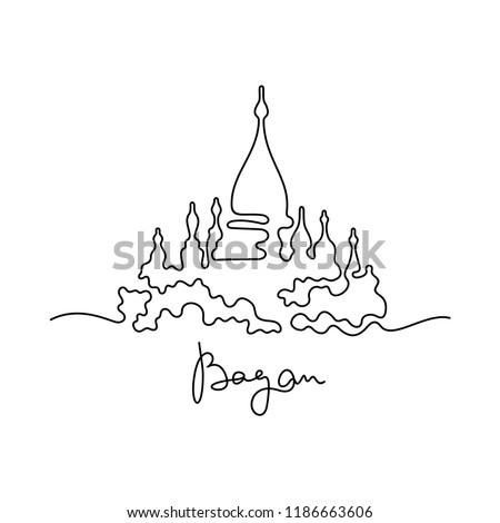 Bagan continuous line illustration Foto stock ©
