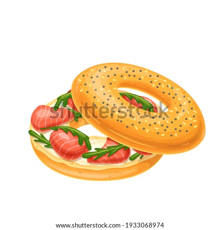Bagel with cream cheese and smoked salmon. Traditional sandwich with cream cheese and salmon. New York Bagel vector illustration.