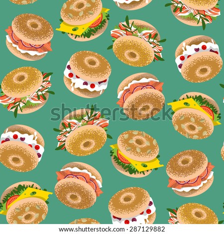 Bagels with various topping. Seamless background pattern. Vector illustration - stock vector