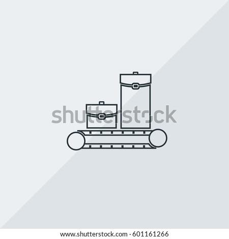 Baggage Claim Vector Icon, Baggage reclaim area. Simple, modern flat vector illustration for mobile app, website or desktop app