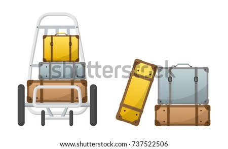 Baggage Claim Vector Luggage Cart width colorful lbaggages, luggages, briefcase, bags, luggage set, luggage cart, car