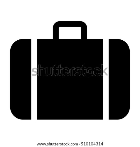 Baggage icon. Black baggage silhouette, vector illustration.