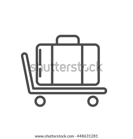 baggage icon. trolley luggage icon thin line design