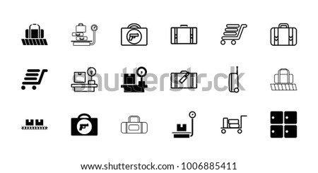 Baggage icons. set of 18 editable filled and outline baggage icons: briefcase with weapon, luggage storage, lugagge weight, luggage cart, suitcase