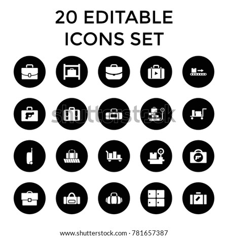 Baggage icons. set of 20 editable filled baggage icons such as luggage, briefcase with weapon, luggage storage, case, sport bag. best quality baggage elements in trendy style.