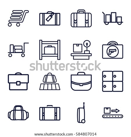 baggage icons set. Set of 16 baggage outline icons such as luggage, luggage belt, briefcase with weapon, case, lugagge weight, suitcase