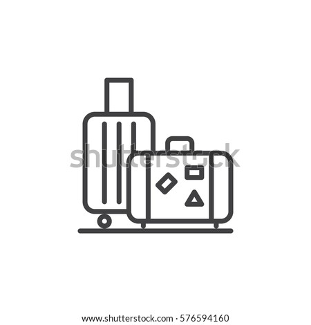 Baggage, luggage line icon, outline vector sign, linear style pictogram isolated on white. Symbol, logo illustration